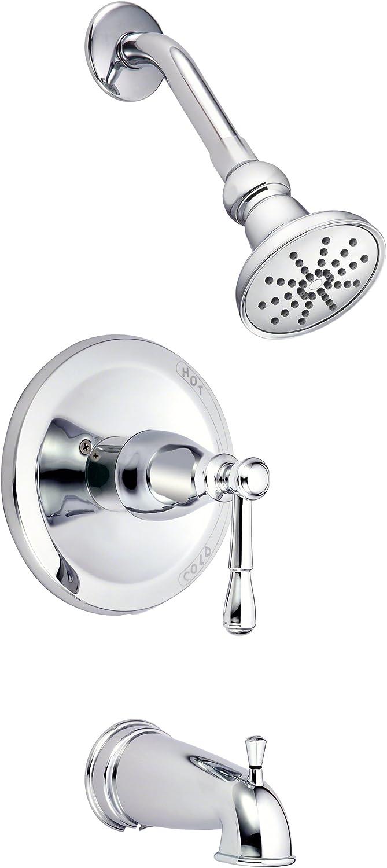 Danze D501015T Eastham Single Handle Tub and Shower Trim Kit with Efficient Flow Shower Erhead, Chrome by Danze