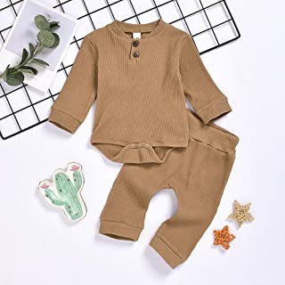 Alician Knitted Romper Suits Long Sleeves Jumpsuit and Elastic Waist Pants for Boys and Girls Brown 70cm Household Supplies