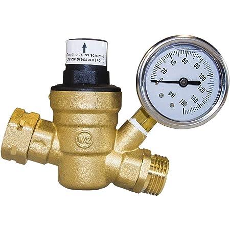 Hourleey Water Pressure Regulator Valve RV Brass Water Pressure Regulator with Gauge and Inlet Screened Filter for Camper Trailer