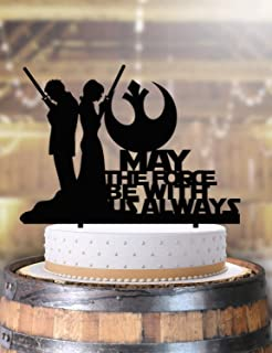 Jedi Couple Bride and Groom Star Wars Wedding Cake Topper