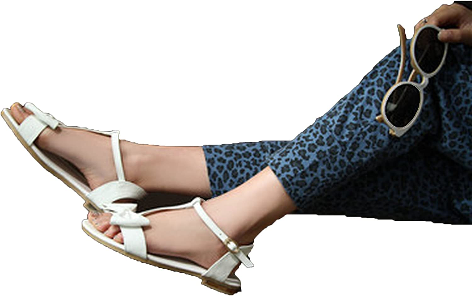 Running-sun Women Real Leather Bow Flip Flops Ladies Sandals Flat Buckle Strap Slippers Plus Size 33-43