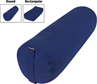 Retrospec Sequoia Yoga Bolster, Includes Machine Washable Cotton Cover and Carry Handle; Round & Rectangular
