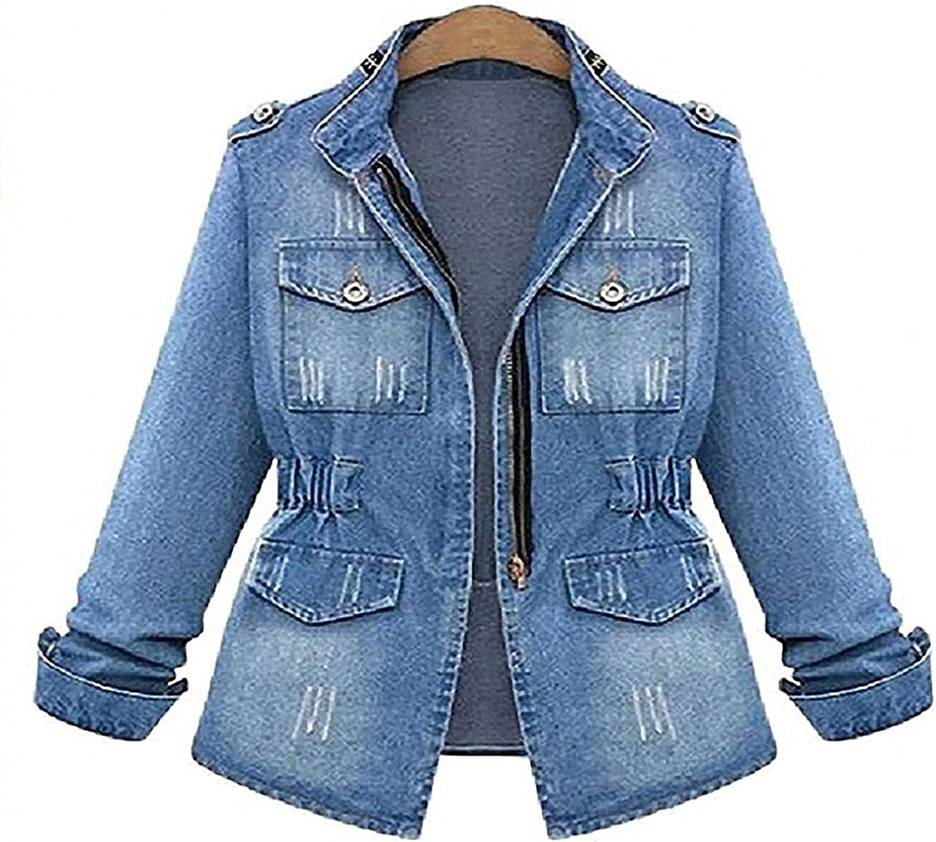 Denim Jackets Women Autumn Long Sleeve Jeans Coat Casual Denim Outwear Tops Plus Size