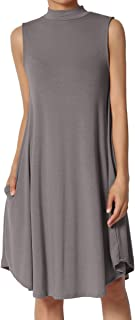 Mock Neck Pocket Draped Jersey Swing Fit & Flare A-Line Midi Dress