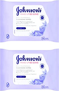 JOHNSON'S Pampering Face Cleansing Wipes All Skin Types, 2 x 25'S