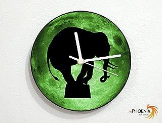 Acrobat Elephant - Green Full Moon - Circus Entertainment Show - Universe Stars Space Galaxy Solar Planet - Custom Name Wall Clock