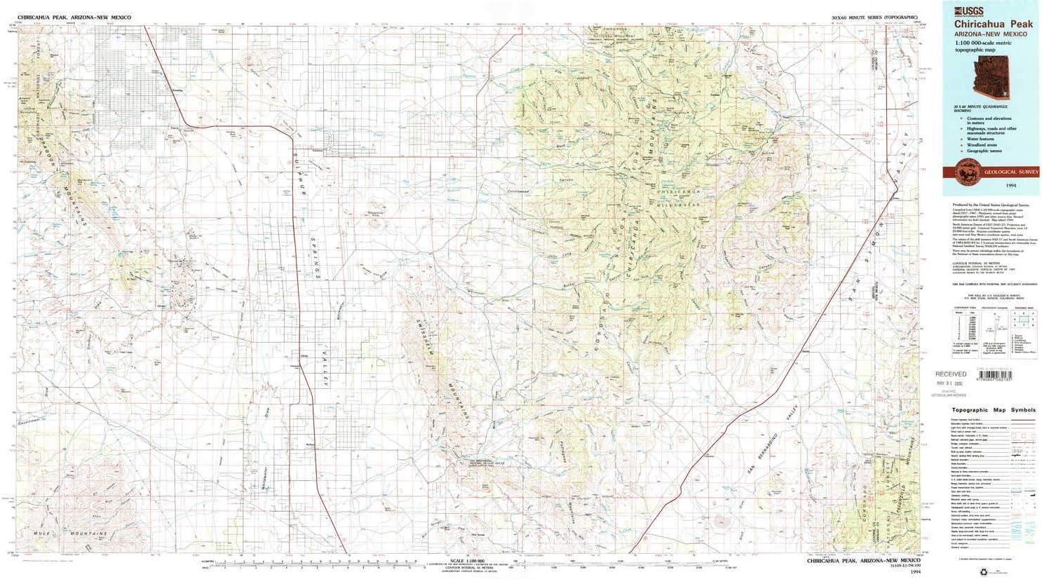 YellowMaps Chiricahua Special sale item Peak Max 60% OFF AZ topo map 60 Scale 1:100000 X 30