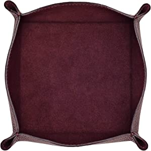 Maruse Italian Tumble Leather Valet Tray Organizer, Office Desk Accessory, Durable Leather Handmade in Italy (Wine)