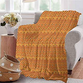 Luoiaax Aztec Children's Blanket Folkloric Borders Triangle Motifs with Circles and Abstract Sun Figures Lightweight Soft Warm and Comfortable W70 x L84 Inch Orange Yellow Burgundy
