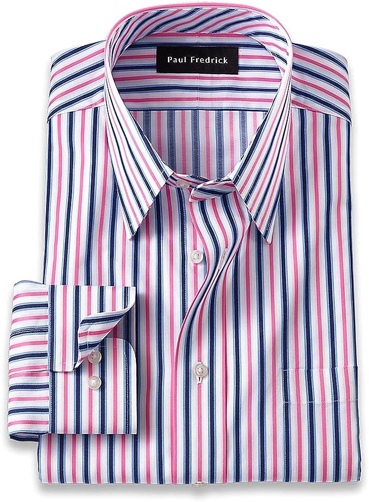 Paul Fredrick Men's Classic Fit Pure Cotton Alternating Stripe Dress Shirt