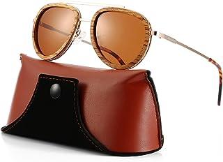 Aviator Sunglasses Wood Polarized for Men Women, Aviators Style Wooden Glasses
