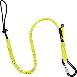 BearTOOL Tool Lanyard with Buckle Strap – Clip Bungee Cord – Heavy Duty Screw Locking Carabiner – Fall Protection and Safety – Adjustable Loop End – Tough Tether – Construction - 1PK (Yellow 0921YS)