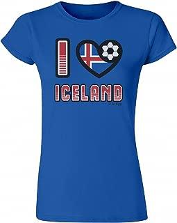 Ladies T-Shirt I Love Iceland Football Heart Flag Euro 2016