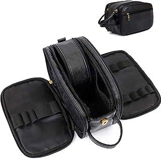 PawPawU Toiletry Bag, Travel Vegan Leather Waterproof Dopp Kit for Men and Women, Double Zipper Toiletry Organizer Bag to ...
