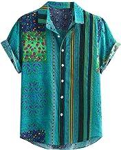 POachers Dameshemd met korte mouwen, grote maten, casual Henley hemd, korte mouwen, funky print, Hawaii strepen, T-shirt, ...