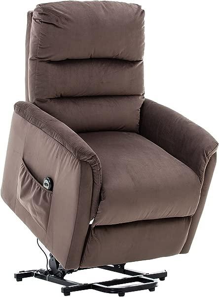 BONZY 电梯躺椅现代电动升降椅柔软和温暖的织物与遥控温和的电机巧克力