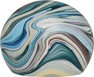 Ansons Urns Cremation Urn - Mountain/Rock Funeral Urn - Aluminum Memorial Garden Burial Urn for Human Ashes Adult Size - Marble Creek Pebbles (Blue)