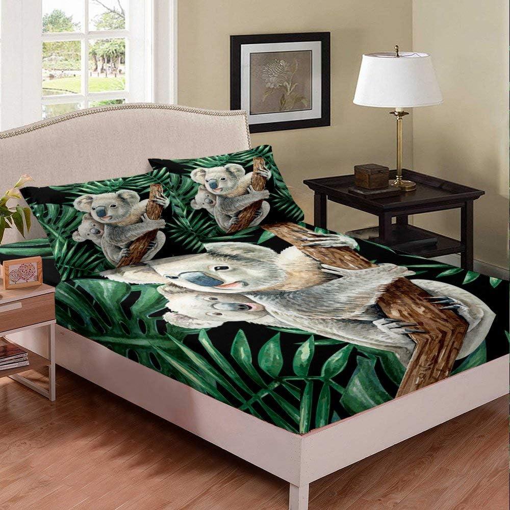 Erosebridal Koala Bedding Set Safety and trust Cartoon Topics on TV Sheet Cute Bed Twin