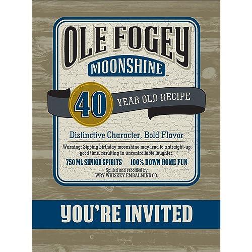 Creative Converting Ole Fogey Moonshine 40th Birthday Invitation 8 Invites Party Supplies