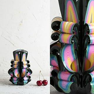 Nero E Arcobaleno - Colori Brillanti - Candela Decorata Intagliata - Idea Regalo Artigianale - EveCandles
