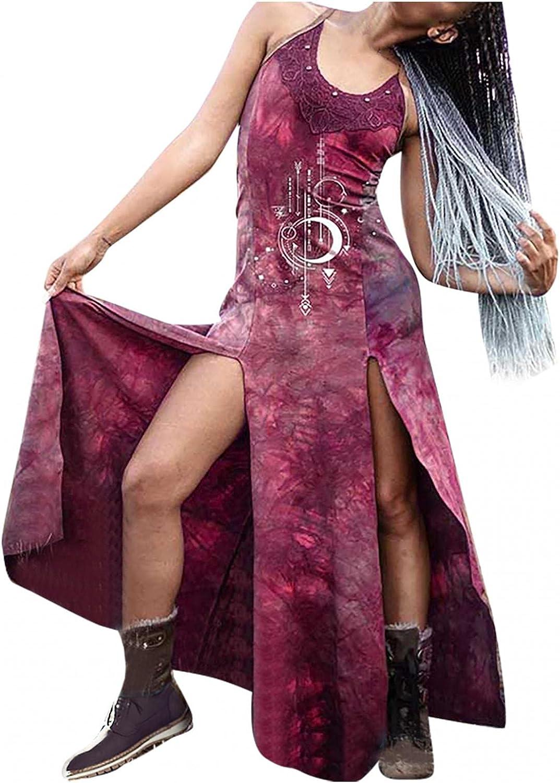 NRUTUP Women's Casual Loose Dress Casual Crew Neck Sleeveless Printed Beach Cover Up Comfy Long Cami Maxi Dresses