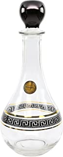 ArtDecor Greek Key Pattern, 30 Oz 'Lotus' Old-Fashioned Whiskey Bottle Handmade Crystal Decanter - Lead Free 24K Gold Carafe