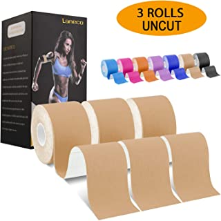 Laneco Kinesiology Tape (19.7ft Uncut Per Roll, 3 Rolls), Latex Free Physio Tape, Breathable, Water Resistant Sports Tape for Muscles & Joints, Pain Relief and Injury Recovery, Free Taping Guide