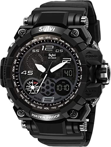 Waterproof Sports Analogue Digital Black Dial Men s Watch