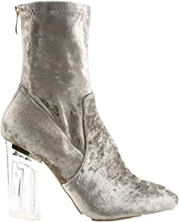 Fay-11 Closed Toe Crushed Velvet Block Clear Perspex Heel Ankle Boot Bootie Gray