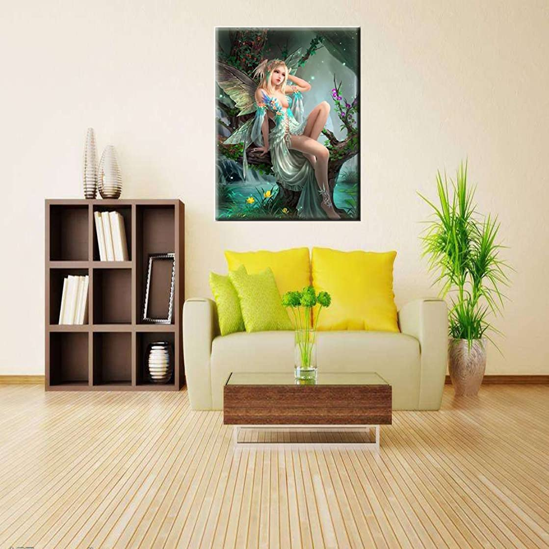 5D DIY Full Drills Diamond Painting Kits By Number, Forest Fairy, Counted Cross Stitch Kit Rhinestone Embroidery Arts for Home Wall Decor