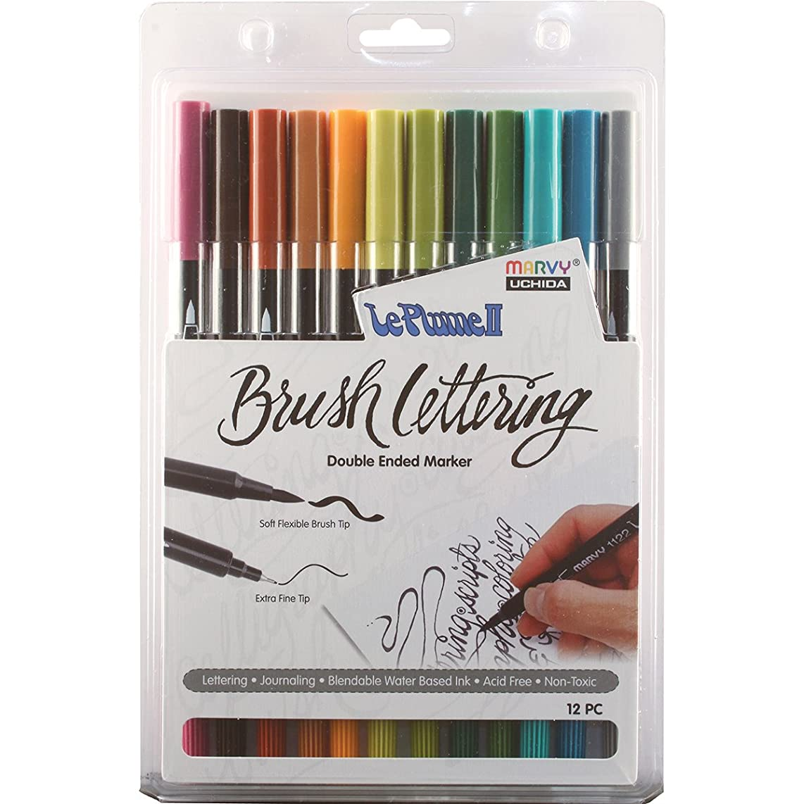 UCHIDA Natural Colored 12 Piece Brush Lettering Marker Set