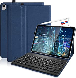 iPad Pro 11 Keyboard Case 2018,【Support Apple Pencil 2nd Gen Charging】-Detachable Wireless Keyboard with Ultra Slim PU Leather Case for 11 Inch iPad Pro 2018(Model:A1980 / A2013 / A1934), Dark Blue