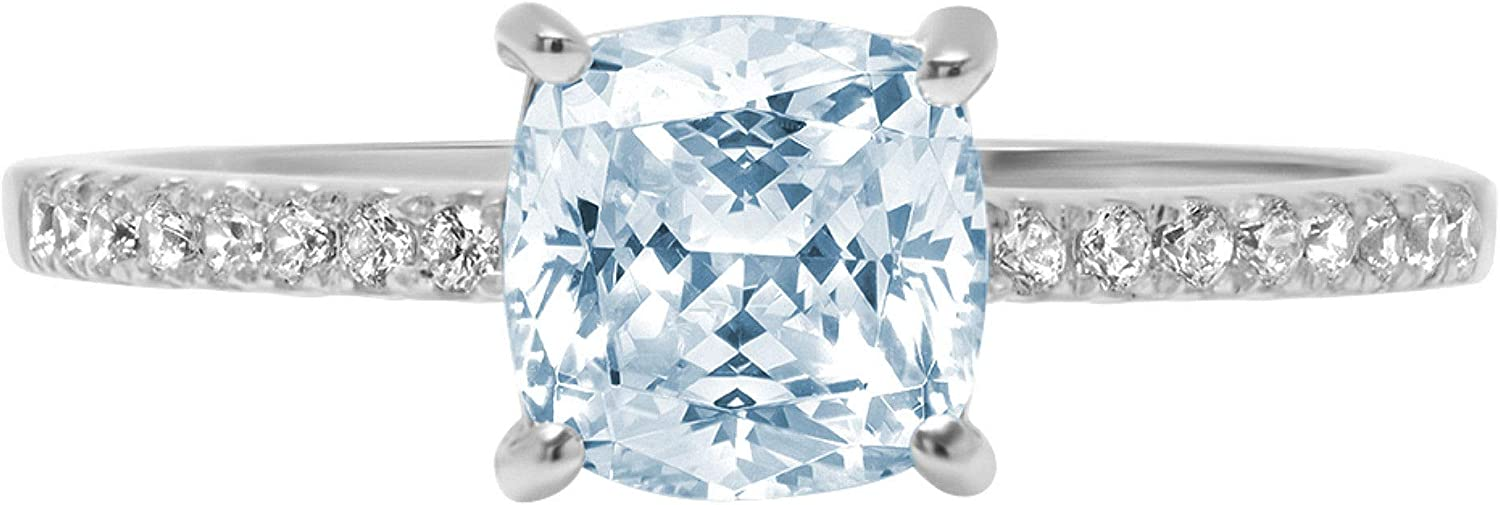 1.63ct Brilliant Cushion Cut Solitaire NEW Accent 5% OFF Bl Aquamarine with