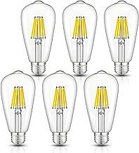 CRLight Dimmable LED Edison Bulb, 3000K Soft White, 60W Equivalent 600 Lumens, 6W Filament LED Light Bulbs, E26 Medium Base, ST64 Vintage Edison Clear Glass Lightbulbs, Pack of 6
