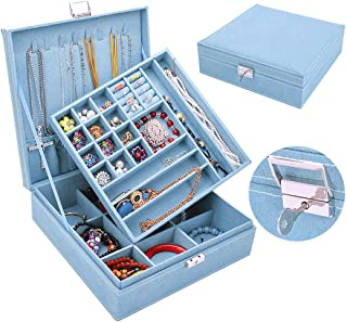QBeel Jewelry Box for Women, Double Layer 36 Compartments Necklace Jewelry Organizer with Lock Jewelry Holder for Earrings Bracelets Rings - Sky Blue