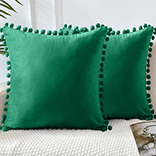 LHKIS Throw Pillow Covers 18x18 Set of 2, Decorative Velvet Farmhouse Pillow Cases Cushion Cover with Pom Poms for Couch S...