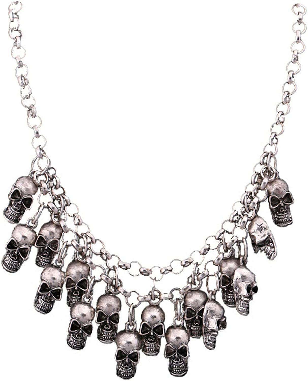 Halloween Gothic Skull Skeleton Collar Choker Necklace for Women Man Punk Skull Beads Charm Costume Statement Jewelry