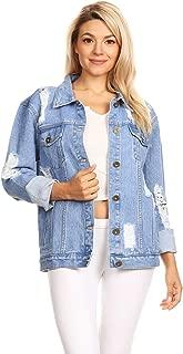 Women's Jean Jacket Long Sleeve Oversized Ripped Distressed Boyfriend Denim Coat
