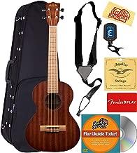 Kala KA-15T Satin Mahogany Tenor Ukulele Bundle with Hard Case, Tuner, Strap, Strings, Fender Play Online Lessons, Austin Bazaar Instructional DVD, and Polishing Cloth