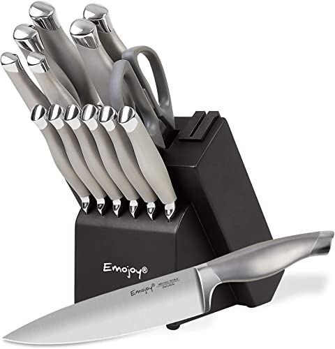 lowest Emo joy Knife Set, 15 Pieces Kitchen Knife Set with Block discount Wooden, Chef Knife Set with Built-in Sharpener, German lowest Stainless Steel Hollow Handle knives Grey online sale