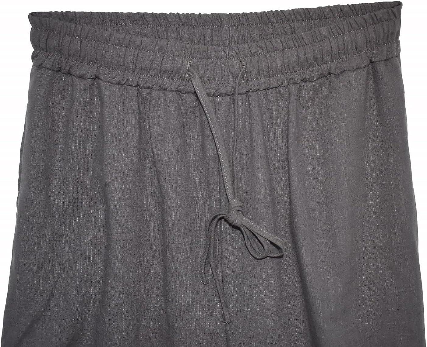 perdontoo Men's Linen Cotton Loose Fit Casual Lightweight Elastic Waist Pants (Medium, Dark Grey)