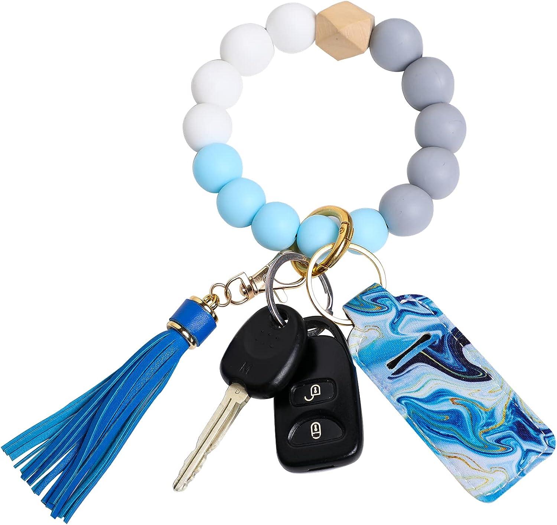 TanzDom Wristlet Keychain Bracelet, Silicone Beaded Bangle Bracelet Tassel Keychain Wristlet with Chapstick Holder
