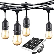 Ashia Light Solar LED Outdoor String Lights- Dawn-Dusk, Low Voltage, Weatherproof, Vintage Edison Bulb- 25ft Heavy Duty Lights Create Cafe Ambience for Patio,Bistro,Pergola and Backyard