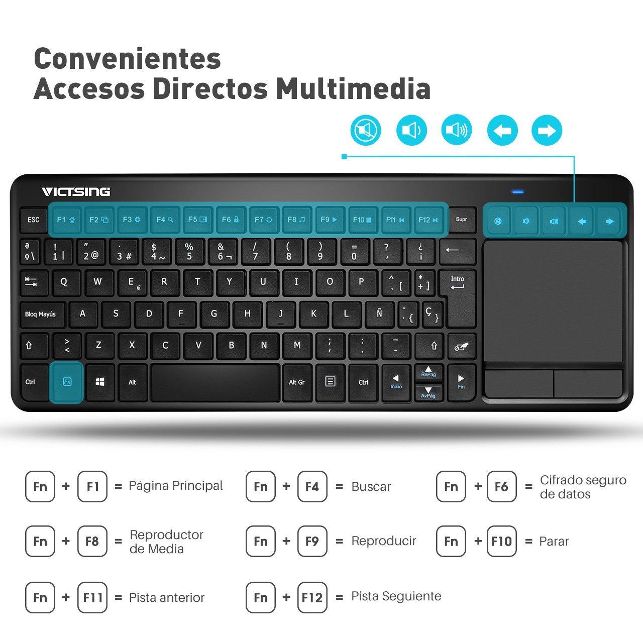VicTsing Ultra Delgada Mini Teclado Inalámbrico Touchpad con 2.4 ...