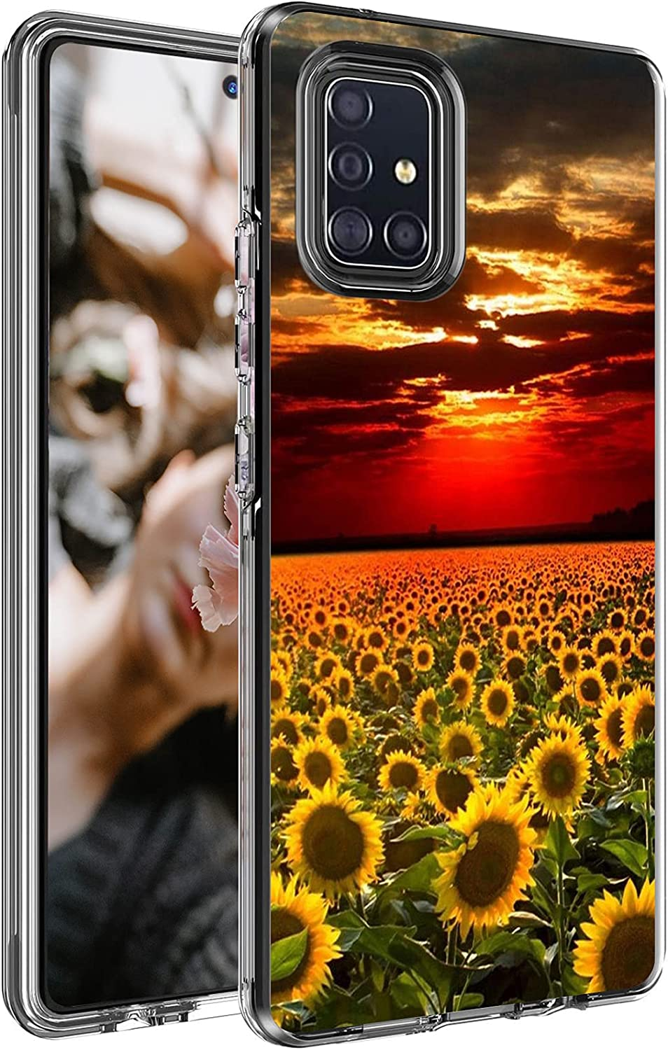 Case for Samsung Galaxy A71 5G 6.7 Inch, Shock-Absorption Flexible TPU Bumper Slim Dual Layer Hybrid Protective Cover Clear with Pattern for Girls Men Women, Sunflower Field Sunset
