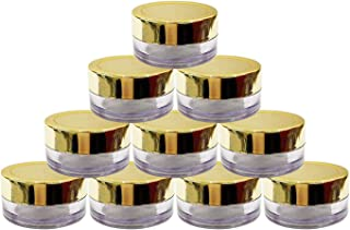 Hunky Dory Acrylic 8gram Royal Gold Cap Transparent Cosmetics Shan Jar Container for Creams,Lip Balm, Body Butter, Essenti...