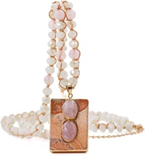 Firstmeet Retro Hand Knotted Beaded Long Strand Necklace with Square Stone Pendant