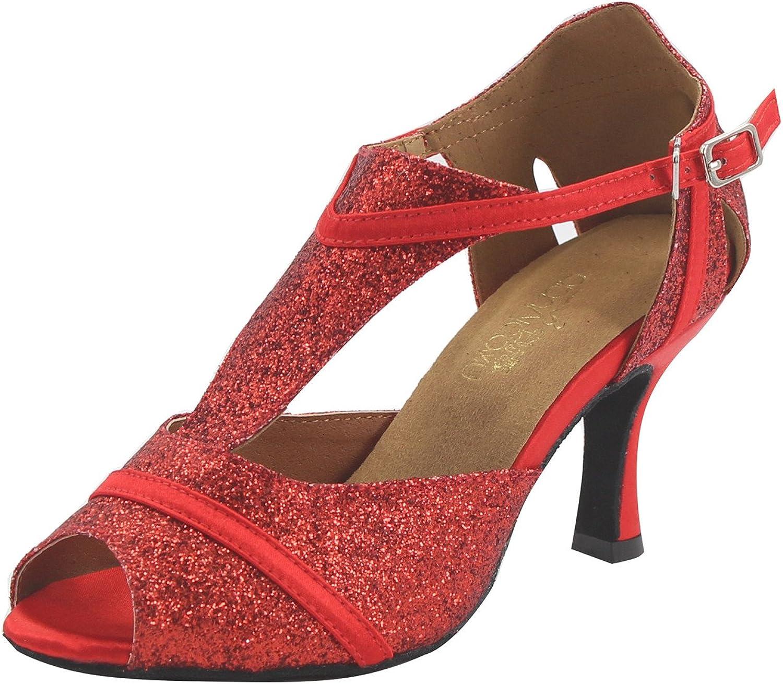 MsMushroom Woman's Glitter Soft Dance shoes Party Wear 4  Heel