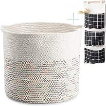 Cotton Rope Basket, Wicker Laundry Basket Round, Senpulism Blanket Basket Living Room, White Woven Storage Basket for Blanket Baby Nursery Kids Toys 15