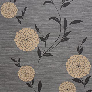 Romosa Wallcoverings LL7554 Pom Floral Wallpaper, Black